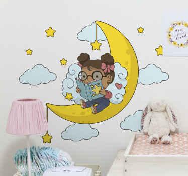 月のイラストデカールで読む女の子-女の子の部屋、プレイルーム、その他のスペースを飾る楽しいデザイン。それは色あせ防止、しわ防止、そして耐久性があります