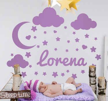 Stjärnor av stjärnor med namnillustrationsdekal - vacker design för att skapa en varm och vänlig atmosfär på ett barns rum.