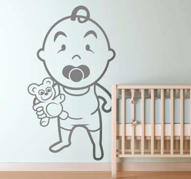 Kids Wall Stickers-Original wall sticker illustration of a baby toddler with their teddy. Playful and adorable feature for decorating childrens rooms