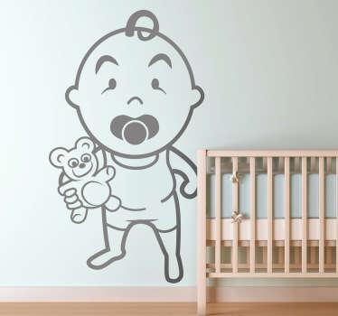 Wandtattoo Kinderzimmer Baby mit Teddy