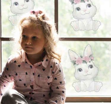 今あなたの家に花柄のこのかわいい赤ちゃんウサギを手に入れよう!この素晴らしいウィンドウデカールはあなたの家に喜びをもたらします!今すぐ注文してください!