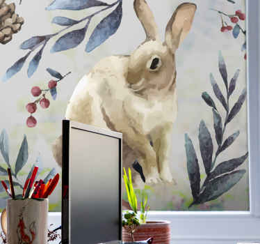 An artistic painting art sticker of rabbit surrounded by winter boom.  Perfect decoration decal for window space and other flat surface.