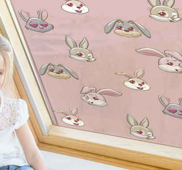 Order this adorable window sticker for kids with pink rabbits and pink background. Perfect for a little animal lover. Available for home delivery!
