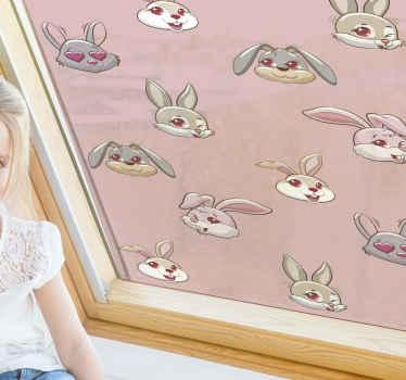 ピンクのウサギとピンクの背景を持つ子供のためのこの愛らしいウィンドウステッカーを注文してください。小動物愛好家に最適です。宅配可能!