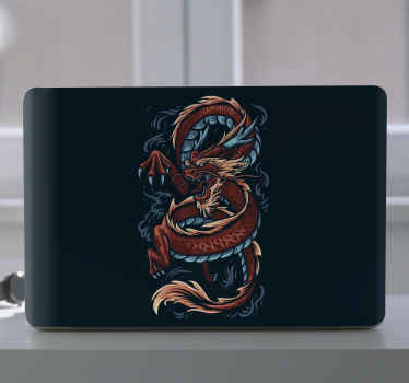 Chinese dragon illustration laptop skins sticker designed on solid black background. High picture quality, easy to apply, waterproof, wrinkle proof.