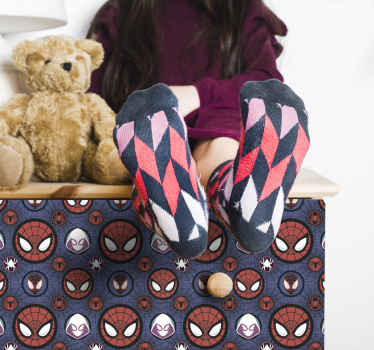 Spider mask pattern furniture sticker for children furniture surface. Place this design on the wardrobe, table, drawer, cupboard, desk, etc.