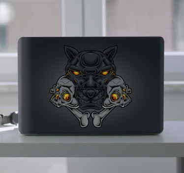 Panther head skull laptop skins sticker to wrap the back space of your laptop. It is waterproof, self adhesive, durable and easy to apply.