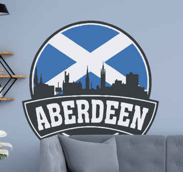 White and blue Scottish flag with Aberdeen's skyline on a wall sticker! Buy it for your patriotic friend and make them smile. Home delivery available!