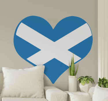 Beautiful Scotland heart flag sticker to decorate any wall space in a house and for an office and business space. Made of quality material and durable