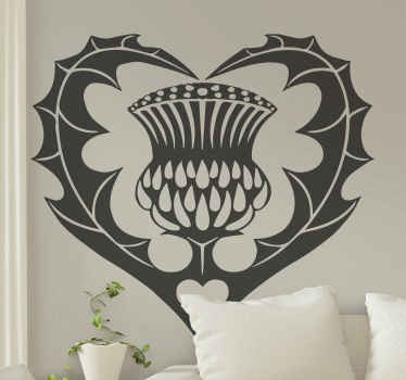 Beautiful Scotland Thistle Heart flower wall sticker available in many sizes. Choose yours and we will do the rest. Home delivery available!