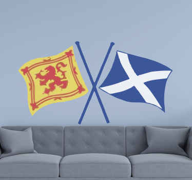 Scotland crossed flags  sticker for home decoration, office and other places. It appears realistic and you would love and admire it on your space.