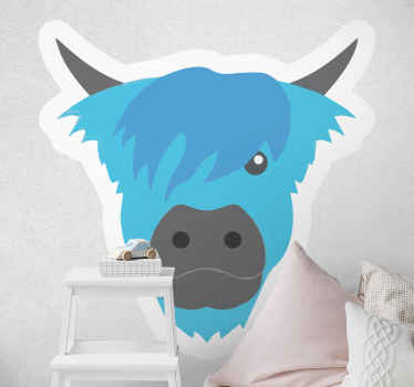 Scottish blue cow farm animal wall sticker to leave a lovely impression on your space.  It is easy to apply, self adhesive and durable.