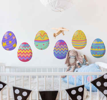 Easter wall decal which features a pack of six Easter eggs, all with a unique pattern on them. Easy to apply and remove.