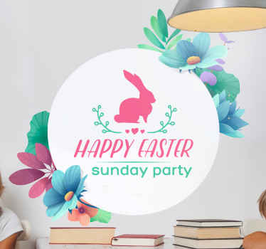 Easter wall decal which features the text 'Happy Easter Sunday party' with a picture of a rabbit on top. Extremely long-lasting material.