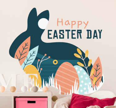 Easter wall decal which features the text 'Happy Easter Day' next to a silhouette of a rabbit. Available in various sizes.
