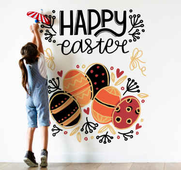 Easter stickers which  feature the text 'Happy Easter' on top of a collection of Easter eggs. +10,000 satisfied customers.