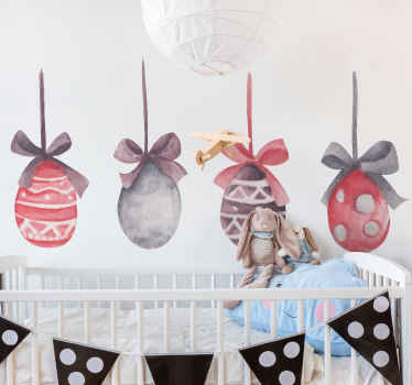 Hanging Easter eggs wall sticker - Nice for decorating children space such as bedroom, playroom and nursery. It is easy to apply and durable.