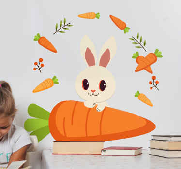 Smiling Easter Bunny wall sticker! Fun decoration to customize children bedroom, playroom or nursery. Available in any size needed.