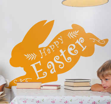 Happy Easter silhouette wall decal that can be personalized in the colour options of preference.  Made of quality, self adhesive and easy to apply.