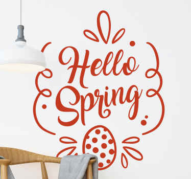 Hello spring! Easter wall sticker - Lovely ornamental Easter decoration to beautify you wall or other surfaces for Easter festivity.