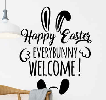 Happy, funky and interesting welcome Easter holiday text decal to customize your space. It is original, self adhesive nd customizable.