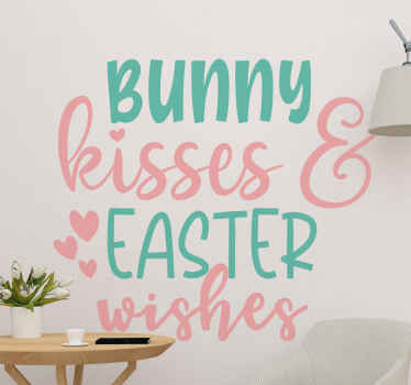 Bunny Kisses and Easter wishes text wall vinyl sticker design for your Easter home decoration. Easy to apply, self adhesive and easy to remove.