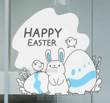 Chick and bunny Easter egg window sticker - It is suitable to decorate the home and on shop and business space to celebrate Easter festivity.