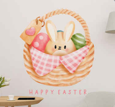 Happy Easter bunny decal with eggs in basket  - Suitable for children space decoration and also can be applied on any other space in a house .