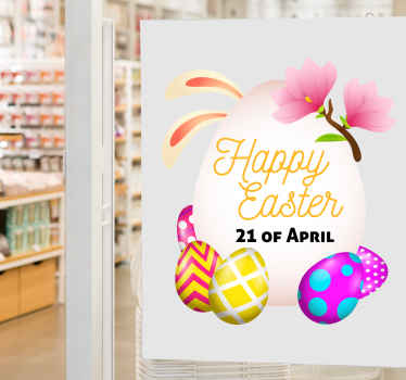 Beautiful and colorful Easter eggs sticker for home beautification to celebrate Easter festivity. Original, customizable, adhesive and easy to apply.