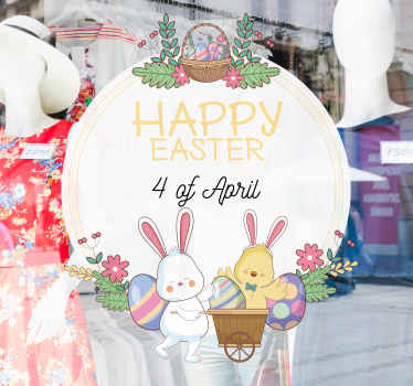 Happy Easter with date  stickers design with bunnies, colorful eggs and flower  to decorate a shop. You can have the date customized to suit your need.