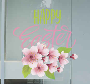 Happy Easter flower window decal for shop, home and other space decoration to celebrate Easter festivity.  Customizable in any size, and original.
