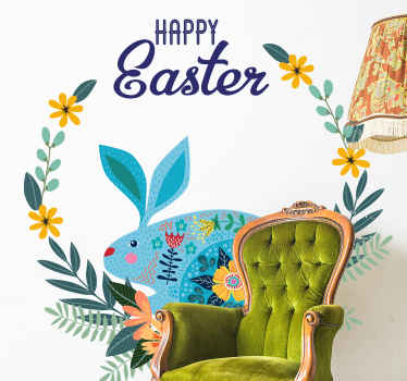 A perfect happy Easter holiday season decal for your home decoration. The lovely design presents a colorful bunny modeled with ornamental flowers.