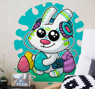 Happy Easter season wall sticker design illustrating a funny cartoon bunny with colorful Easter eggs and playing music on headset. Easy to apply.