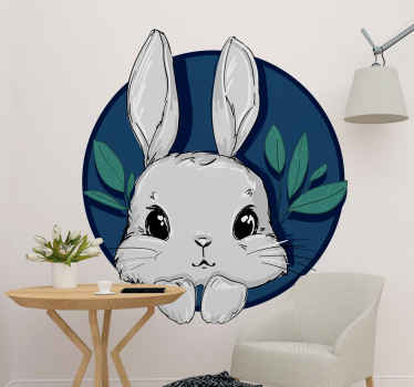 Take a look at this adorable animal wall sticker of a cute grey bunny with a dark blue background. Choose from different sizes and order today!
