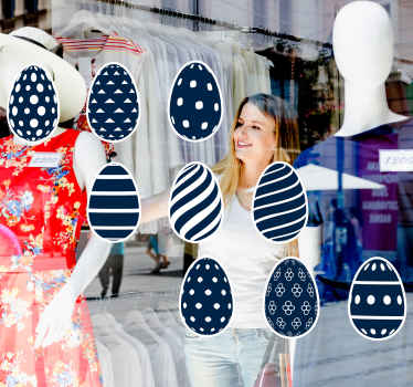Blue painting Easter eggs sticker for shop window space. You would be decorating your shop or business space with the aura and fantasy of Easter.