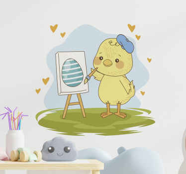 Funny cute Easter chick holiday decal.  The design illustrates a chick making an egg painting on a wooden writing board. Original and self adhesive.