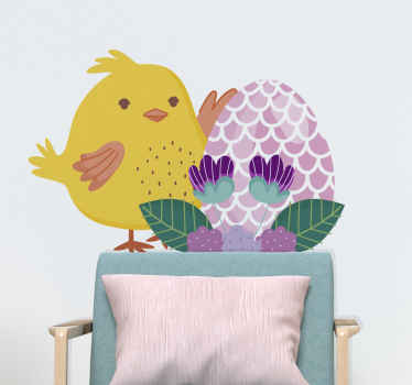 Colorful Easter chicken holding pink egg wall sticker! Lovely to customize children bedroom and it can be personalized to meet your desire.