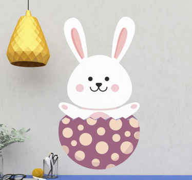 Easter bunny coming out of egg wall sticker - Grace your kid's with this lovely bunny pulling out from an egg shell to create a happy and fun fantasy.