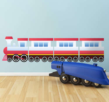 A great red train wall sticker to decorate your children's playroom! This children's decal is perfect to create a fun atmosphere for the little ones.