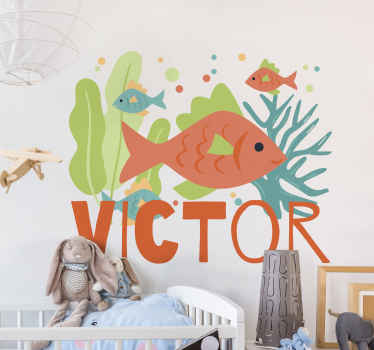 If you are looking to decorate a space with an under sea life under theme design then this fantastic colorful coral name fish  decal is just perfect.