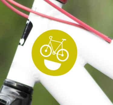 Pegatina bicicleta de diseño de una bicicleta sobre fondo de cara sonriente. Personalizable a cualquier tamaño ¡Envío exprés a domicilio!