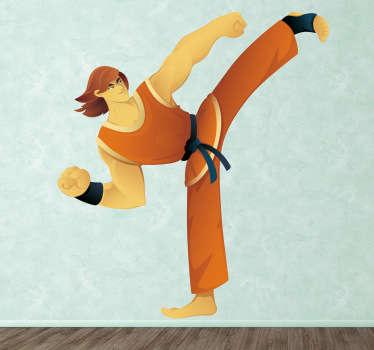 Een leuke muursticker van een karateka met zwarte gordel dat een perfecte stamp uitvoert. Prachtige wanddecoratie voor de liefhebbers van karate.