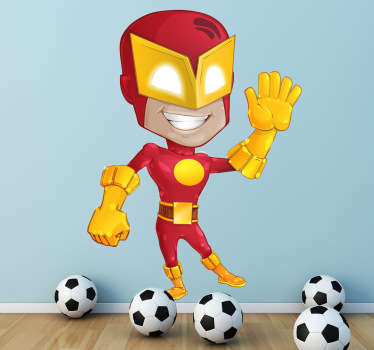 Vinilo infantil superhéroe traje rojo