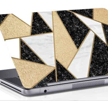 Prekrasne mramorne crno-bijele pločice naljepnica za laptop. Pokrijte svoje prijenosno računalo ovim realističnim dizajnom teksture koji opisuje mramor u teksturi različitih boja.