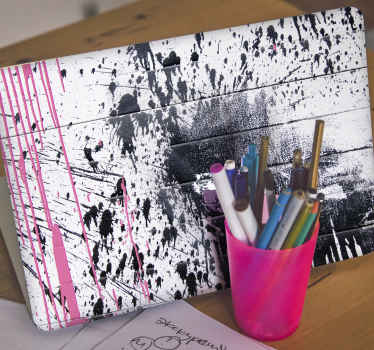 Black pink color spray laptop skins decal for lovers of abstract paint design. Design that creates an illusion of a paints splashed on wood surface.