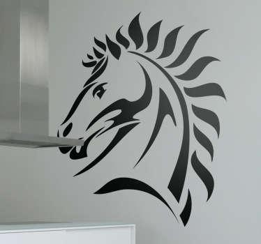Autocollant mural tete cheval