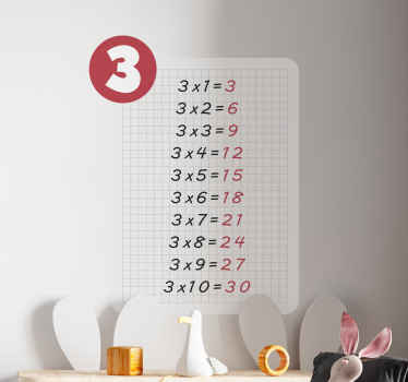 Multiplication table of 3 teacher decal for kids - Perfect decorate for children space learning about the multiplication unit.