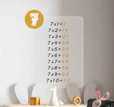 Children education multiplication table of 7 sticker that can be applied on any space for children to learn the multiplication unit.