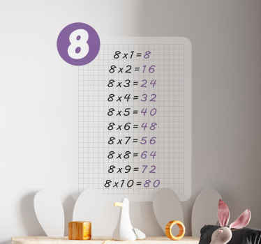 Multiplication table of 8 teacher stickers from our collection our collection of multiplication table education decal. Easy to apply and removable.