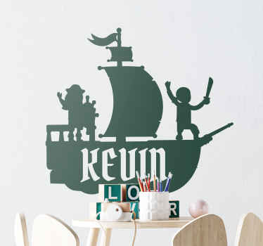 Pirate ship with name illustration sticker. This can be decorated on any space in the home, nice for children bedroom and any other flat surface.
